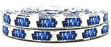 """3 YARDS STAR WARS LOGO 3/8"""" PRINTED GROSGRAIN CHARACTER RIBBON  blue and white"""
