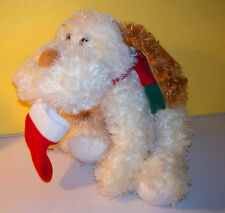 CHRISTMAS Shaggy Tan Puppy With Christmas Stocking In The Mouth Tom's Toys Plush