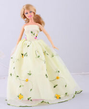 Wholesale   Handmade Yellow The original soft clothes dress for barbies doll 80