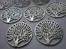 2 pces GRAND tibetan silver Alliage Arbre de vie cercle pendentif charme bijoux
