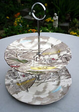 Vintage Retro WH Grindley 'Quiet Day' Cake Stand Staffordshire
