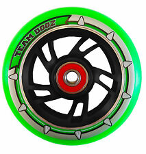 New 100mm Black Alloy Core Neon Green PU Stunt Scooter Wheel, ABEC 9 Bearings