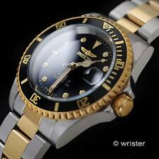 AUTOMATIC Invicta Pro Diver 18k GOLD IP Two Tone Black Dial Coin Edge Mens Watch