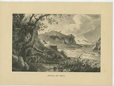 ANTIQUE LEGEND OF ROMULUS REMUS SHE WOLF ROMAN MYTHOLOGY LANDSCAPE OLD ART PRINT