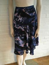 Marks & Spencer Per Una Blue Print Navy Skirt with Pleating UK10 38