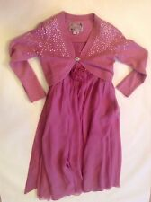 Beautiful Silk Party Dress & Sequinned Cardigan - MONSOON - 8-10 Years Stunning