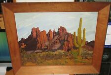 G.HAYES CACTUS DESERT MOUNTAIN LANDSCAPE PAINTING WITH BURL WOOD FRAME