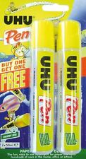 2 x UHU GLUE PEN - CHILDREN'S KIDS ART & CRAFT GLUE - SOLVENT FREE - 2 x 50ml
