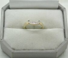 9ct Gold And Diamond D Shaped Half Eternity Style Ring