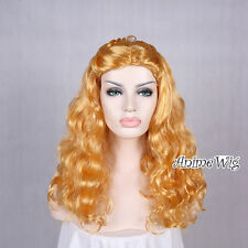 Cinderella Princess Golden Blonde Curly Long 50cm Costume Women Girl Cosplay Wig