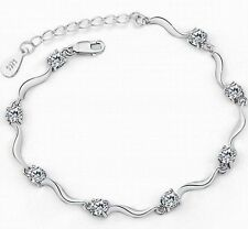Women Fashion White Silver Plated Bamboo Crystal Rhinestone Cuff Bangle Bracelet