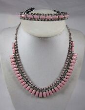VINTAGE KRAMER OF NEW YORK PINK MILK GLASS & RHINESTONE NECKLACE & BRACELET