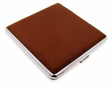 Cigarette Case -- Mysmokingshop Brown Design Leather Chrome King Size - NEW kst2