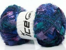 Angelo #41312 Lilac Purple Turquoise Teal Blue Metallic Butterfly Eyelash Yarn