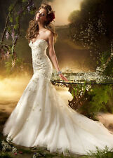 MUST-SEE LAZARO Size 12 Sweetheart, Beaded Wedding dress LZ3002 IVORY Pre-Owned
