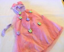 BARBIE DOLL PINK TAG PINK & LAVENDER GOWN PLASTIC ROSE CHARMS + SHOES