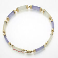 "14k Yellow Gold Lavender Jade & Mother of Pearl Bracelet with ""Joy"" Clasp"