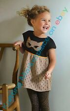 Knitting Pattern - 2-10yrs Girls Cat Motif Tunic Phildar Pattern (5 sizes) PO194