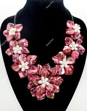 Fashion Mother of pearl Abalone Carved Red Shell Flower Long Pendant Necklace