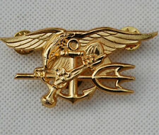 US NAVY SEAL EAGLE ANCHOR TRIDENT METAL MEDAL BADGE INSIGNIA GOLD