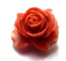 Antique Vintage Carved Coral  ROSE Flower Stone 18.5 mm Drilled Undyed #OK100