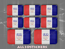 8 x 3D Stickers Resin Domed Flag Cleveland - USA Adhesive Decal Vinyl
