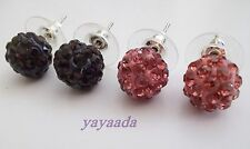 Pack 2 pairs of High quality Crystal Disco Ball Beads stud Earrings