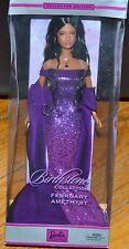 Barbie 2002 Birthstone Collection February Amethyst Brunette Purple Dress