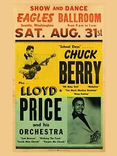 """Chuck Berry / LLoyd Price Seattle 16"""" x 12"""" Photo Repro Concert Poster"""