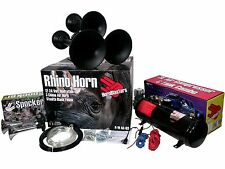 Hornblasters Spocker & Rhino 3 Liter Train Horn Kit Crazy LOUD Chrome & Black