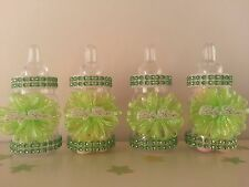 12 Green Fillable Bottles Baby Shower Favors Prizes Games Girl or Boy Decoration
