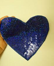 4 large royal blue love heart patch sequin applique iron on  hotfix 14 x 13cm