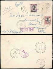 CHINA 1922 FRENCH INDOCHINA P.O REGIST.TCHONG KING 50c + 15c to USA via SHANGHAI