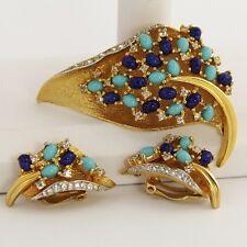 ESTATE VINTAGE Jewelry JOMAZ BLUE CABOCHON RHINESTONE LEAF BROOCH & EARRINGS SET
