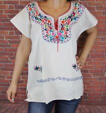 PEASANT BOHO HAND EMBROIDERED MEXICAN KIMONO BLOUSE TOP MANTA 100% COTTON LARGE