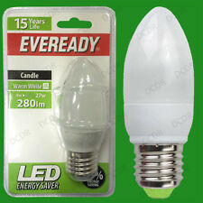 2x 4W LED Eveready Ultra Low Energy Instant Start Candle Light Bulb, ES E27 Lamp