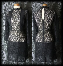 Gothic Black Sheer Lace Panel VICTORIAN GOVERNESS High Neck Dress 6 8 Vintage