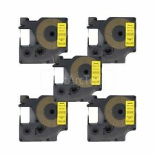 """5pk Black on Yellow Label Tape Compatible for DYMO 45808 D1 19mm 3/4"""""""