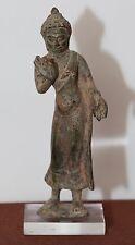 Antique thai birmans ou chinois debout bronze buddha, inhabituel pièce, qing fine