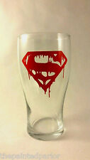 Bleeding Superman Logo Beer Glass DC Comics Birthday Present Man Cave Christmas
