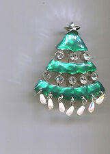 KARU GREEN PEARL DROPS CHRISTMAS TREE PIN silver