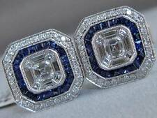 FANCY 2.02CTW DIAMOND SAPPHIRE 18K WHITE GOLD EMERALD CUT MENS CUFFLINKS C00104S