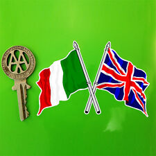 Crossed ITALIAN & U'JACK Flags UK Flag sticker 10cm
