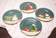 "4 Different Sakura China Christmas Winter Journey 8.25"" Salad / Dessert Plates"