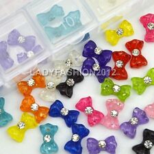 60PCS Candy Color Resin Bow Tie Nail Art Salon UV Gel Tips Cell Phone Deccals