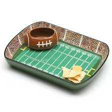 Ceramic Chip And Dip Dish Set Football Stadium Tray Party Snack Bowl