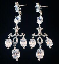 EARRING using Swarovski Crystal Dangle Drop Wedding Bridal Rhodium Silver CZ57