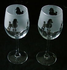 Poodle Dog Wine Glasses classic tulip shape