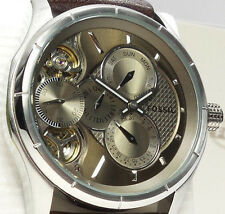 FOSSIL TWIST ME1020 Mens Skeleton Dial Brown Leather Strap Watch $175 NEW
