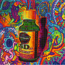 SANDOZ LIQUID VIAL #25 color - BLOTTER ART Perforated Sheet acid free art page